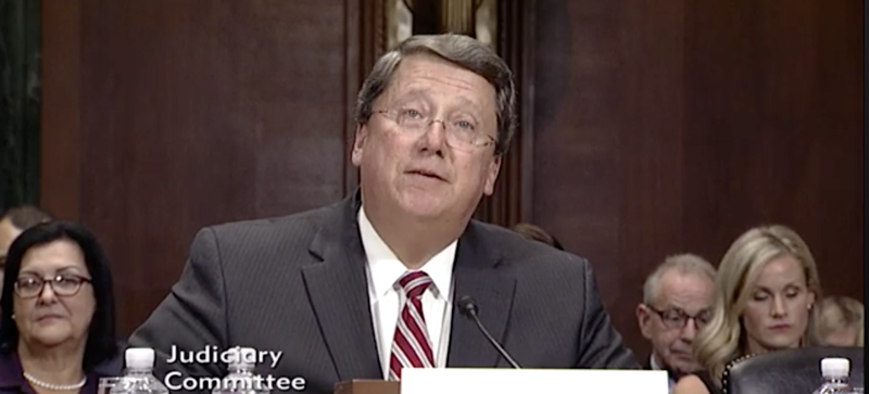 Tennessee state Sen. Mark Norris appeared at a confirmation hearing in November. His nomination to the federal bench narrowly passed a committee but has not come up for a final vote by the full U.S. Senate.