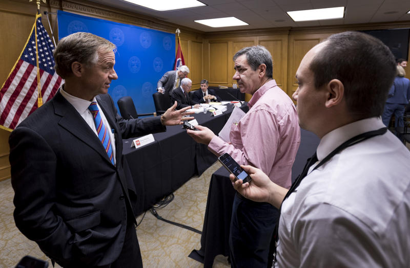 Gov. Bill Haslam takes questions from reporters during a break in budget hearings at the Tennessee State Capitol.
