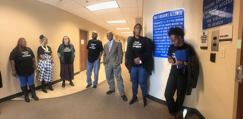 "Members of the ""Justice For Jocques Coalition"" stand outside the Metro Nashville Police Department headquarters last week asking for a meeting with Chief Steve Anderson."