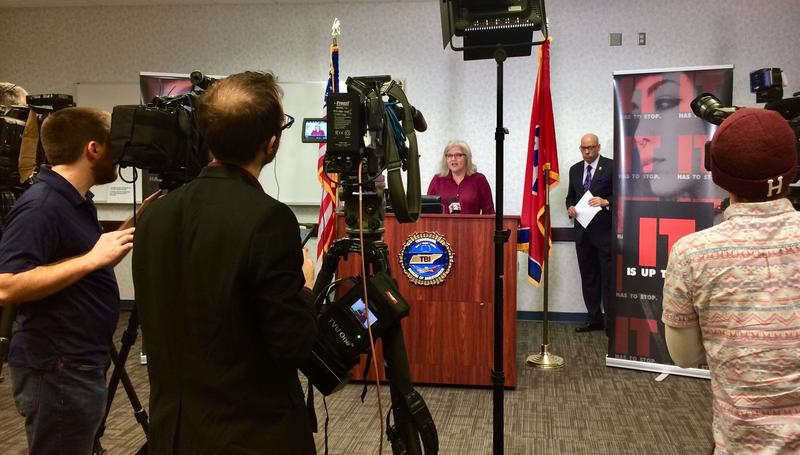 Derri Smith with End Slavery speaks at a press conference with the Tennessee Bureau of Investigation this week.
