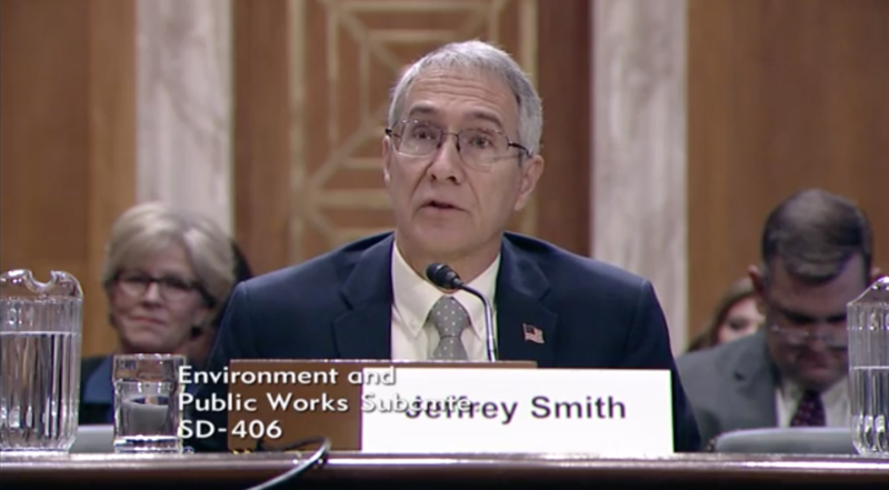 Jeffrey Smith speaks to a subcommittee of U.S. senators about his nomination as TVA board member.