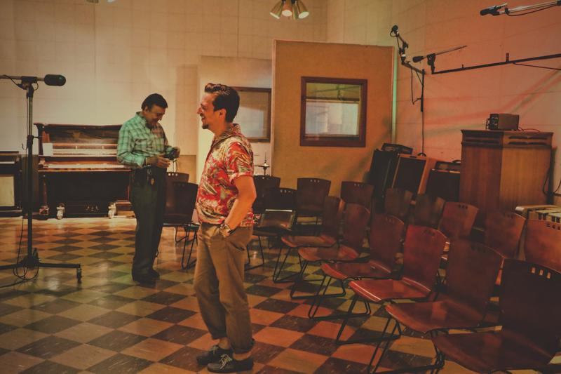 JD Mcpherson inside RCA Studio B with Ray Walker of vocal group The Jordanaires
