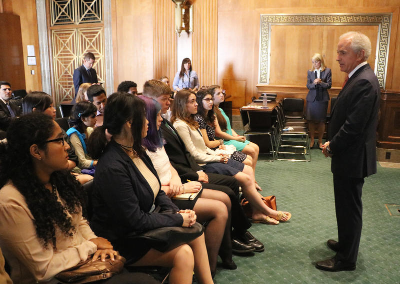 Sen. Bob Corker speaks to students on Capitol Hill in 2015. The Republican from Tennessee has announced he will not seek a third term.