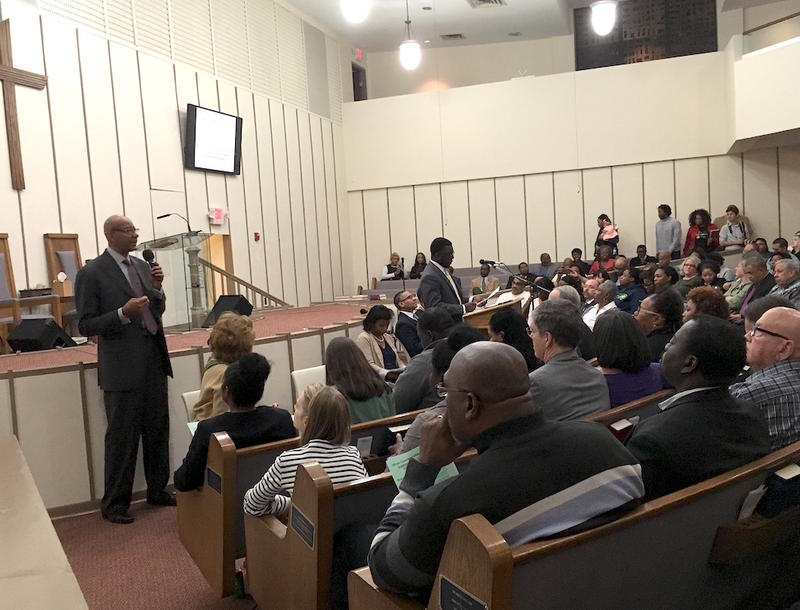Nashville General Hospital CEO Joseph Webb address a group gathered at First Baptist Church Capitol Hill Thursday night, thanking Mayor Megan Barry for slowing down plans to close inpatient care.