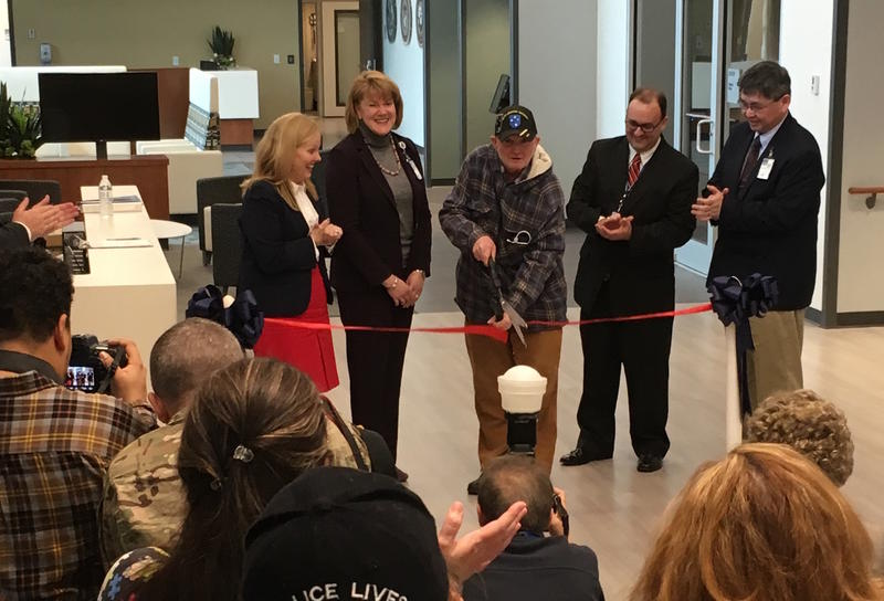 Vietnam veteran George O'Connor cuts the ribbon on Clarksville's new 34,000 square-foot VA clinic.