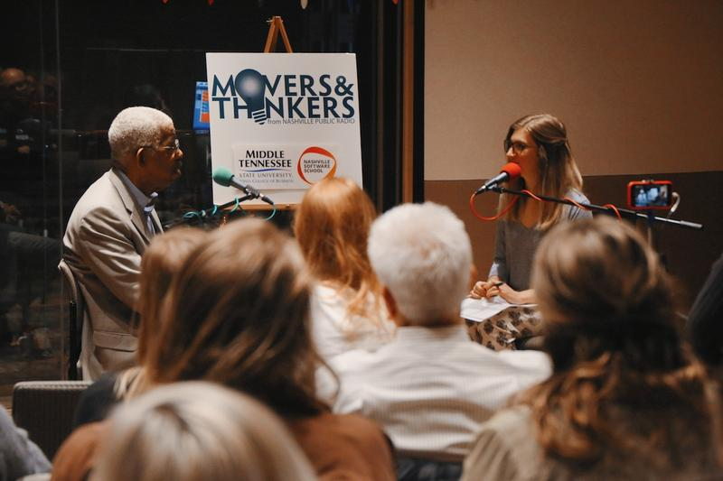 Rip Patton speaks to WPLN's Emily Siner during a live taping of Movers & Thinkers.