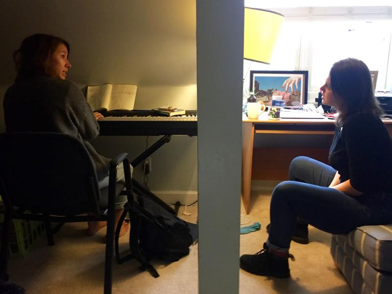 Laurel Sorenson, left, and Katie Crone work on a song at Sorenson's house.