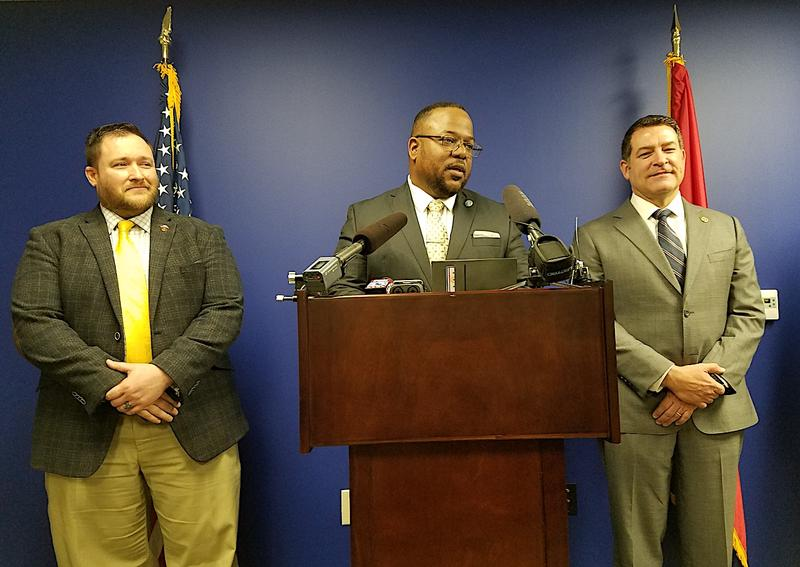 State Rep. Micah Van Huss, Rep. Antonio Parkinson and Sen. Mark Green unveiled legislation Wednesday that would pay off-duty police officers to patrol schools — one of two school security plans being debated by lawmakers.