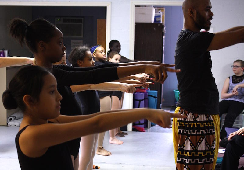 "Rejoice School of Ballet dancers rehearse an African dance for ""Saam Psalms: Together Songs."""