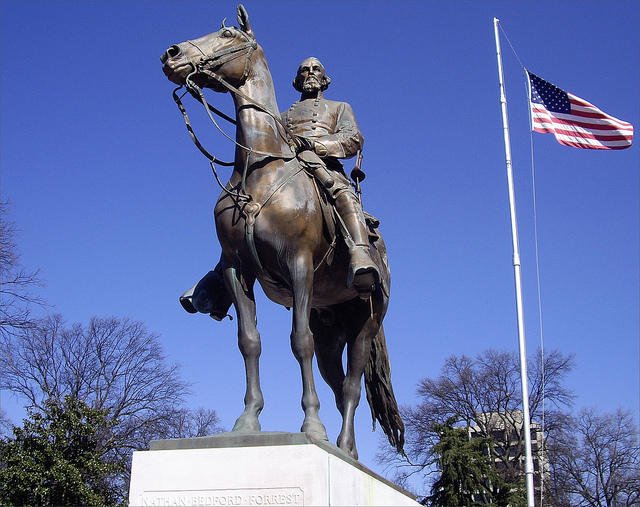 A statue of Nathan Bedford Forrest in Memphis was removed in December, despite state lawmakers' efforts to keep it in place.