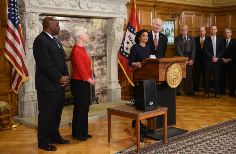 CMS Administrator Seema Verma speaks in Arkansas during a ceremony making that state the third in the country to implement Medicaid work requirements under a Trump Administration waiver.