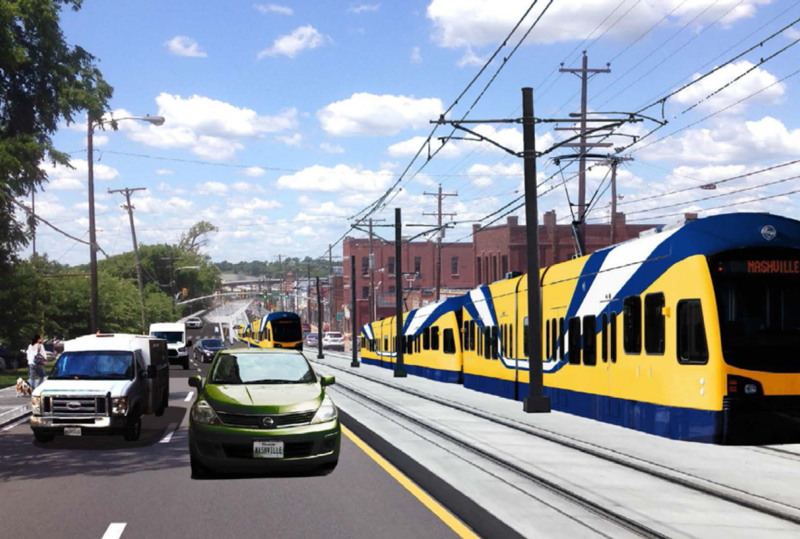 This rendering depicts a light rail line on Charlotte Avenue near Sylvan Park.