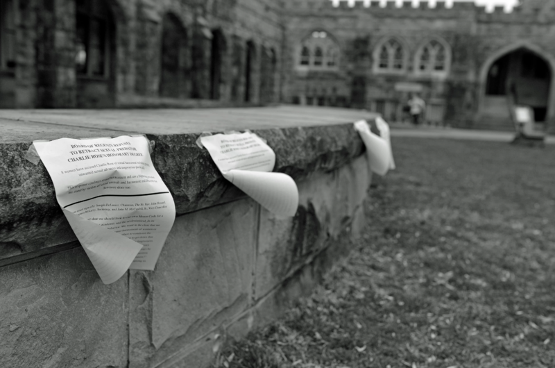 Students at Sewanee taped letters of protest around campus in an attempt to pressure the board of regents into rescinding Charlie Rose's degree.