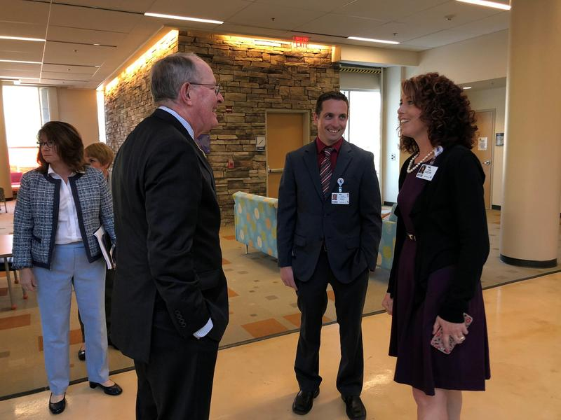Sen. Lamar Alexander meets with hospital officials in Johnson City last week. He says the meetings have helped inform many components of the opioid crisis response legislation he introduced in the U.S. Senate.