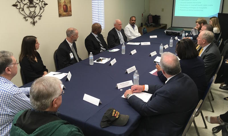 Sen. Lamar Alexander met with hospital officials in Hohenwald this year to hear how they downsized while retaining some essential functions.
