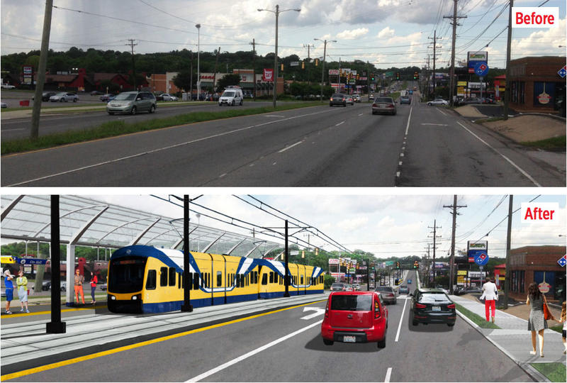 Via artist rendering, this screenshot from the transit plan shows Murfreesboro Pike — before and after.