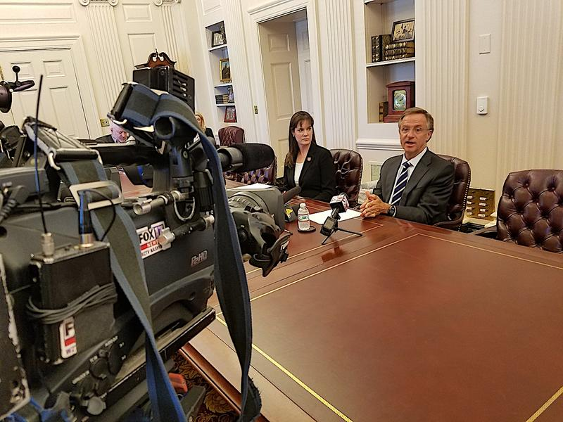 Gov. Bill Haslam and Education Commissioner Candice McQueen discuss the administration's response to TNReady outages in a press conference at the Tennessee State Capitol.