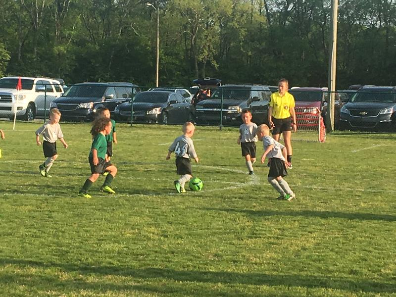 "Student referee Abby Body officiates a soccer game in the Gallatin Soccer Club, which is one of the state's first to achieve gold ""Safe Stars"" designation."
