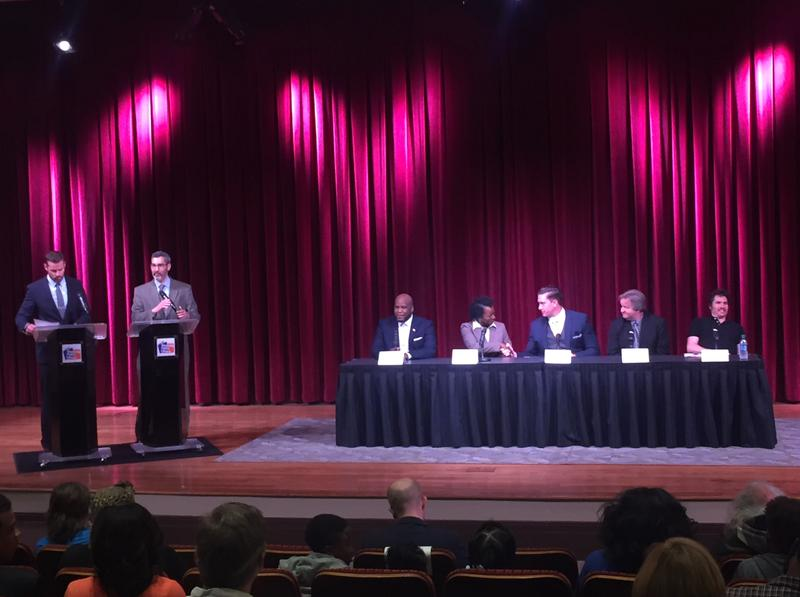 At a mayoral forum, moderators split up the 12 candidates who attended into three groups to make the conversation more manageable.