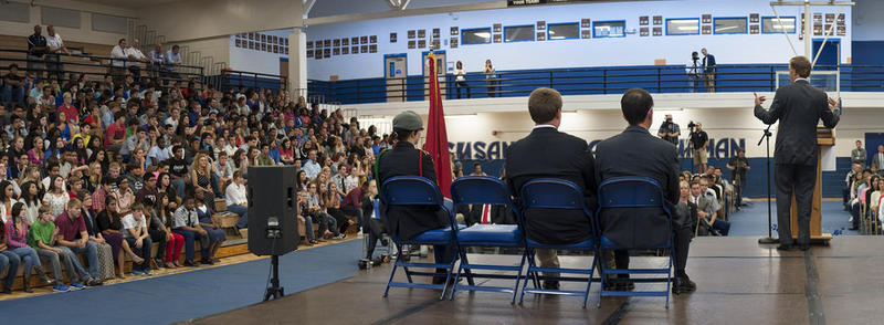 In the fall of 2014, Gov. Bill Haslam toured the state to promote Tennessee Promise to that year's high school seniors — who would be the first cohort of Tennessee Promise students.