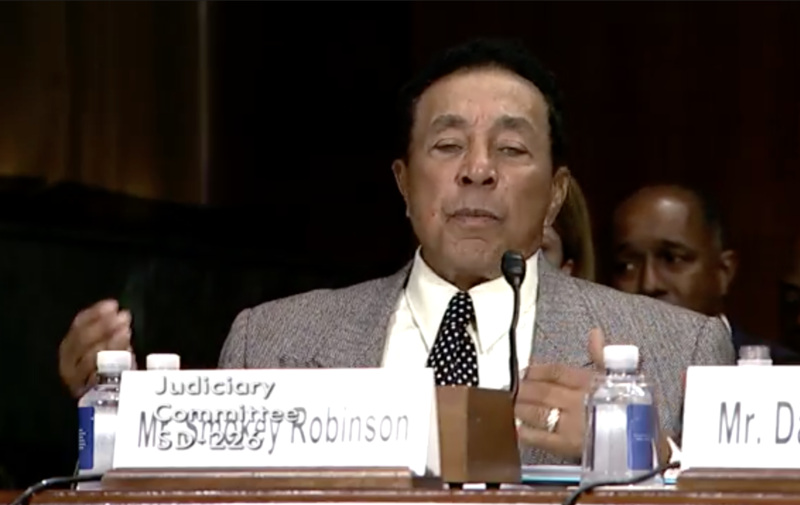 Smokey Robinson testifies at a U.S. Senate hearing about his desire to see the Music Modernization Act passed.