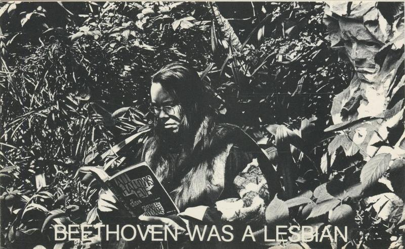 """Beethoven was Lesbian"" from ""Postcard Theatre,"" a performance art collaboration between composer Pauline Oliveros and Alison Knowles. The artists used the series of postcards to confront the lack of female (and queer) representation in classical music."