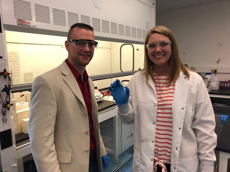Cary Pint and Anna Douglas at their lab in Vanderbilt University