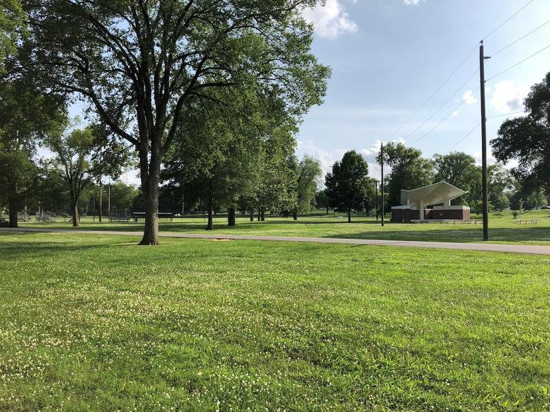 The park has a picnic shelter, softball field, community center and tennis courts.