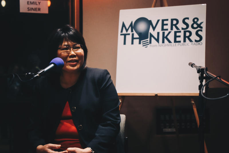 Siew-Ling Shea speaks at the Movers & Thinkers live taping in February.