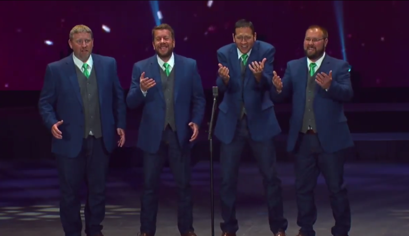 The Core, performing at a Barbershop Harmony Society competition.