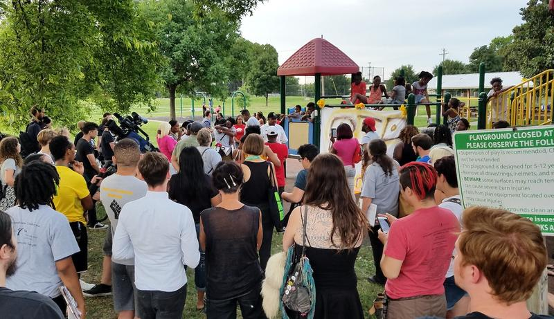 Supporters of a Community Oversight Board gathered signatures during a rally in memory of Daniel Hambrick in Watkins Park on Saturday.