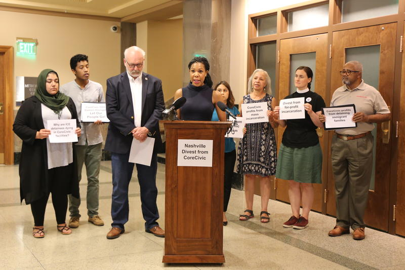 Councilmembers Erica Gilmore and Fabian Bedne are joined by members of Moral Movement TN, American Muslim Advisory Committee, Clark United Methodist Church and Fisk's student body president, in calling for passing of a resolution limiting investment.