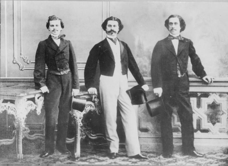 Brothers Eduard, Johann II and Josef Strauss.