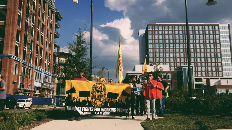 A number of workers and organizers — including Worker's Dignity, the International Union of Painters and Allied Trades (IUPAT) District Council 91, LiUNA, and the Ironworkers — organized a vigil to honor those who've died at local construction sites.