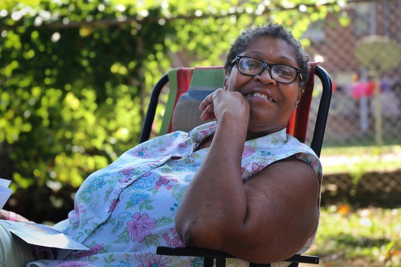 Vernell McHenry, 61, has lived in James Cayce for more than 17 years, greeting the neighborhood from a metal folding beach chair on her stoop.