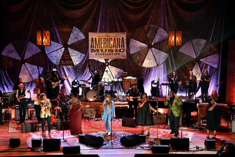 Brandi Carlile, Irma Thomas, Courtney Marie Andrews, Tanya Blount, Michael Trotter, Jr., and Ann McCrary perform during the Americana Awards ceremony Wednesday night at Ryman Auditorium.