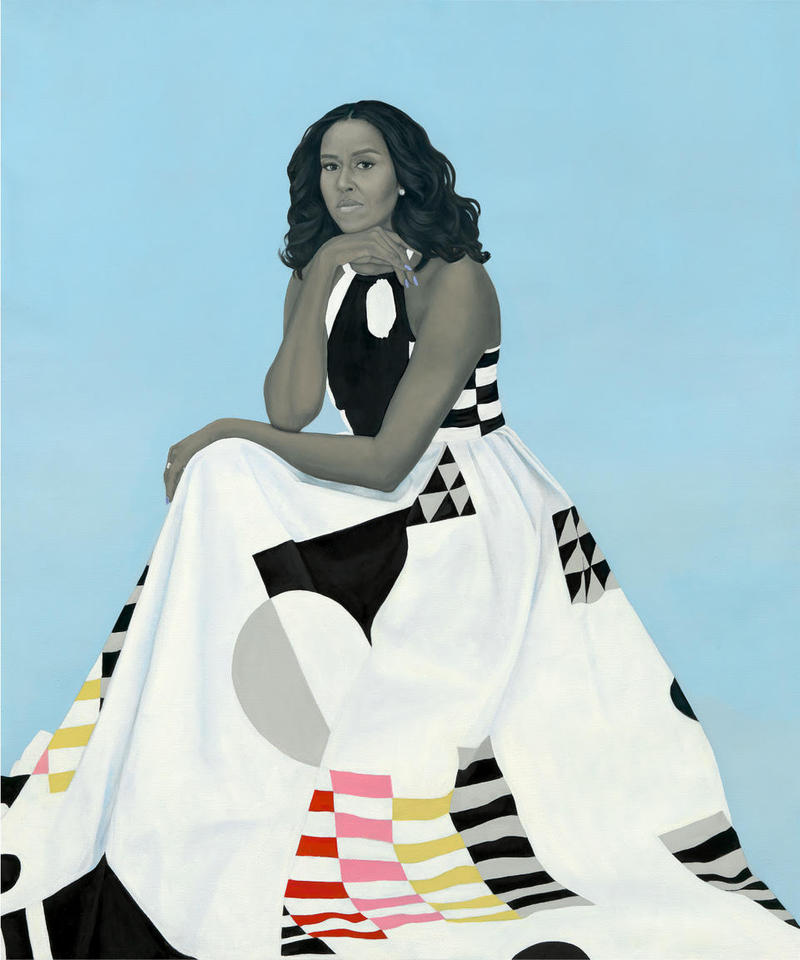 Amy Sherald's official portrait of former First Lady Michelle Obama was unveiled in February. She'll give an artist lecture Thursday evening at Austin Peay.
