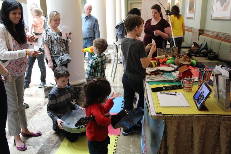 Children explore instruments during pre-concert activities at the Schermerhorn