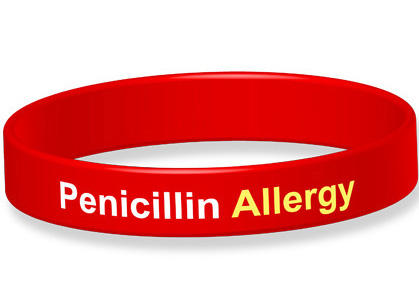 Some people wear a bracelet to notify health care practitioners to alert them to a penicillin allergy.