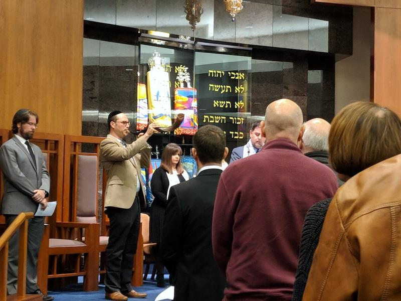 Rabbi Saul Strosberg of Sherith Israel sounded the shofar, or ram's horn, as part of the Pittsburgh shooting memorial service.
