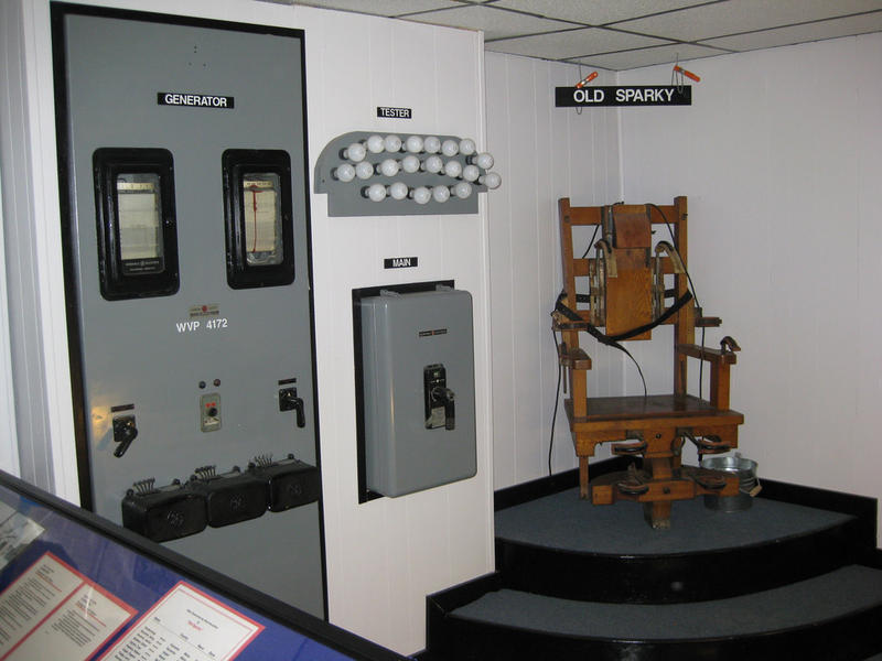 An old electric chair stands on display in a closed prison in West Virginia. Tennessee's electric chair has been rarely used on recent decades but remains an option under state law.