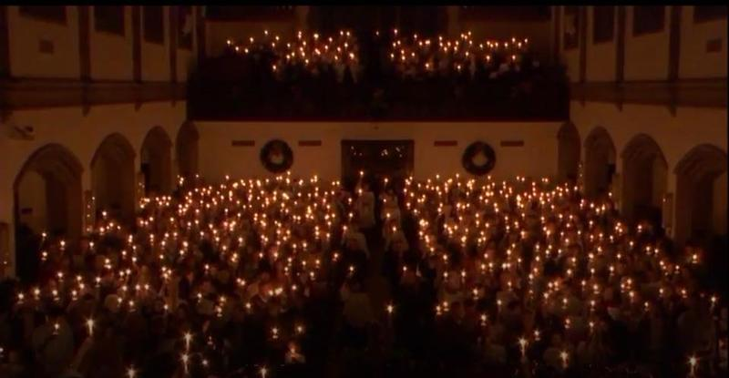 The congregation at West End UMC lifts candles during 'Silent Night'