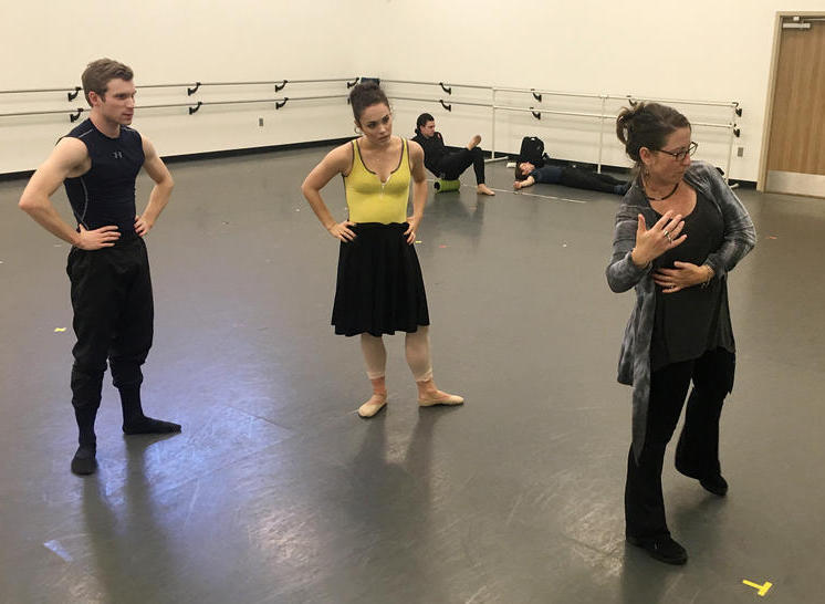 Choreographer Gina Patterson rehearses with NB2 dancers Robert Montgomery and Marissa Stark. The ballet focuses on Nashville's role in the ratification of the 19th Amendment.