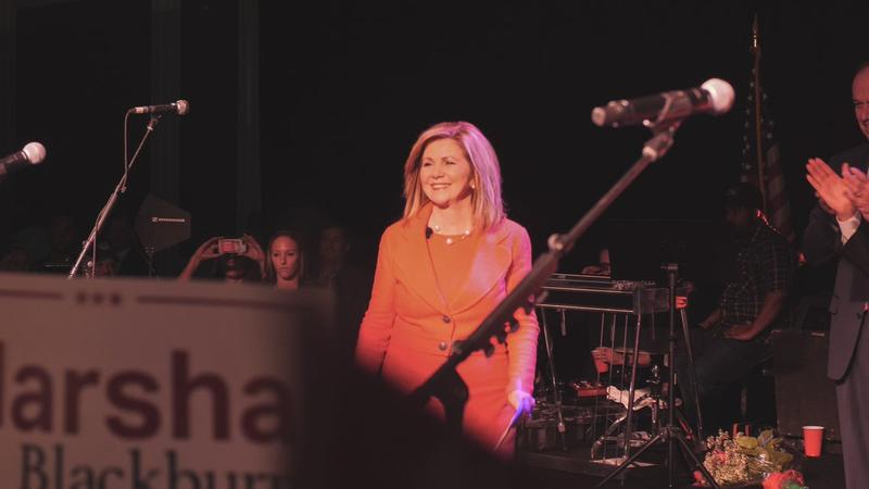 Republican Marsha Blackburn pledged to continue embracing President Trump and his policies, especially on immigration.