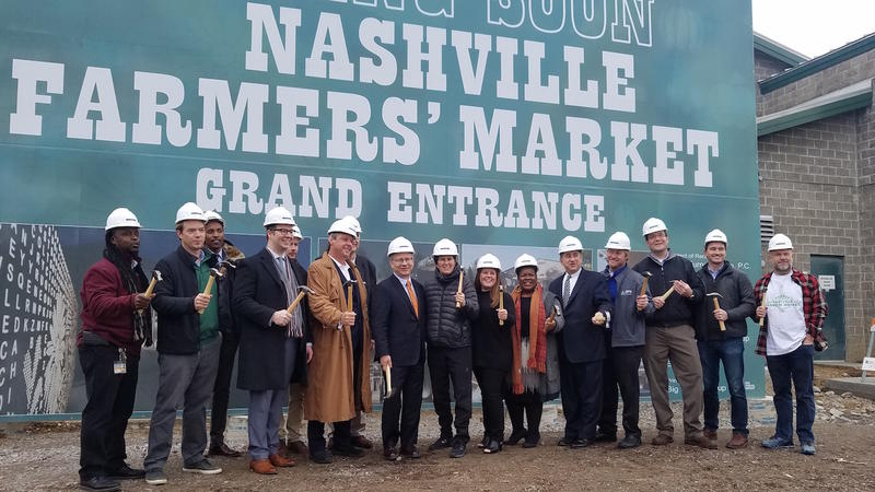 Officials break ground at Nashville Farmers' Market's grand entrance, one of many renovation projects planned over the next six months.