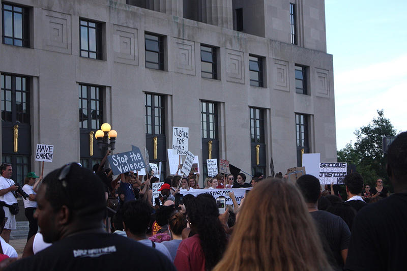Hundreds gathered outside the Metro Courthouse for a Black Lives Matter vigil.
