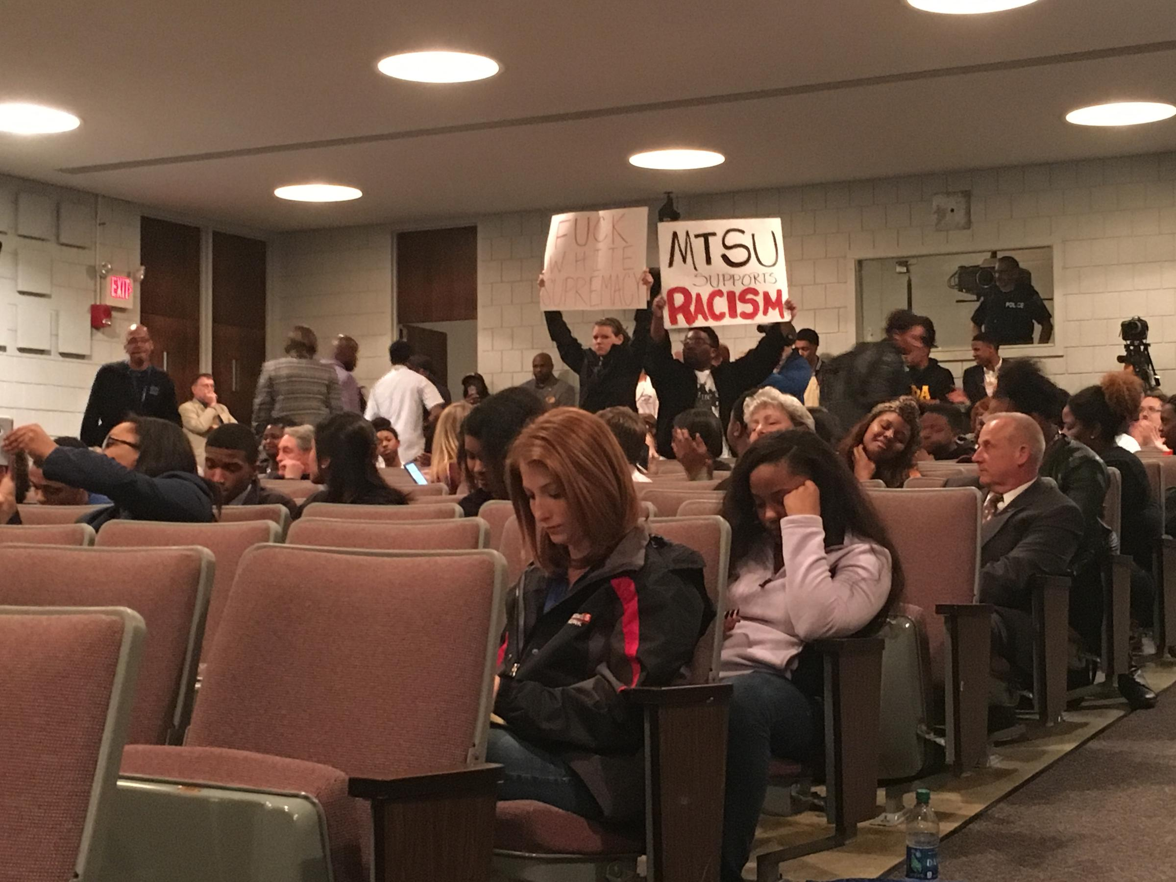 At times, protesters interrupted a final public meeting on the possible name change of MTSU's Forrest Hall.