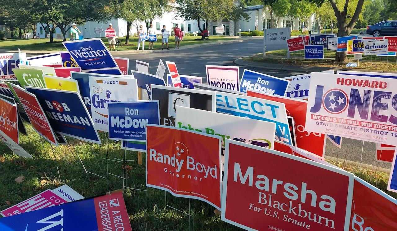 Signs signs everywhere there's signs at a polling location in Nashville during the early voting period