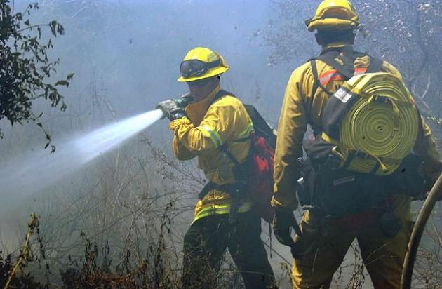 Firefighters work to contain blaze in Guernsey State Park.
