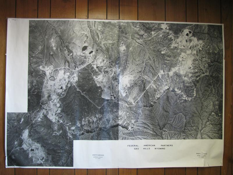 This aerial map shows the Gas Hills in 1978, before major mine and tailings pond remediation efforts began there.
